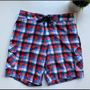 OLD NAVY Plaid Check Board Shorts Swimsuit SMALL